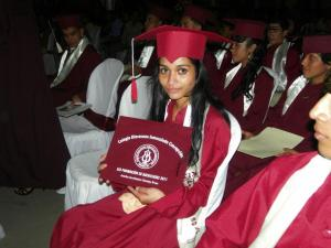 Anielka at graduation ceremony