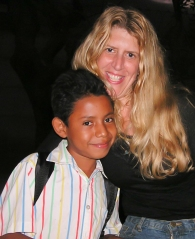 Juan Jose at 9 years old with Founder Kathy Adams